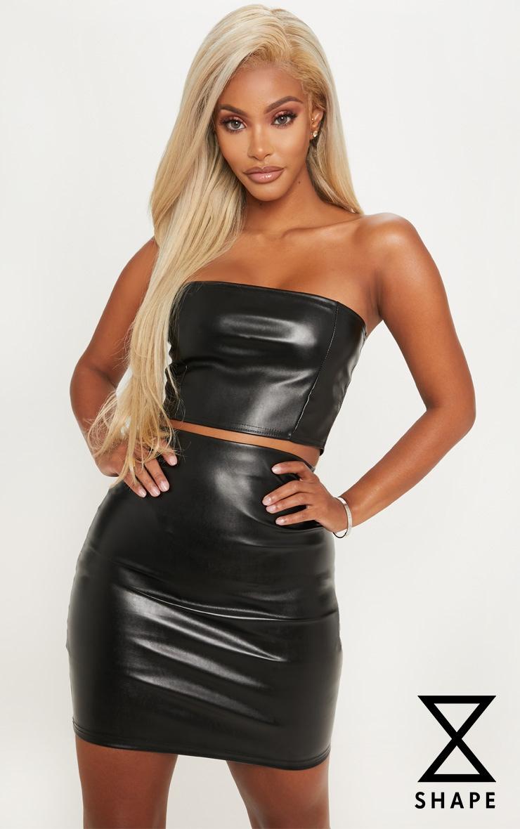 Shape Black Bodycon PU Skirt 1