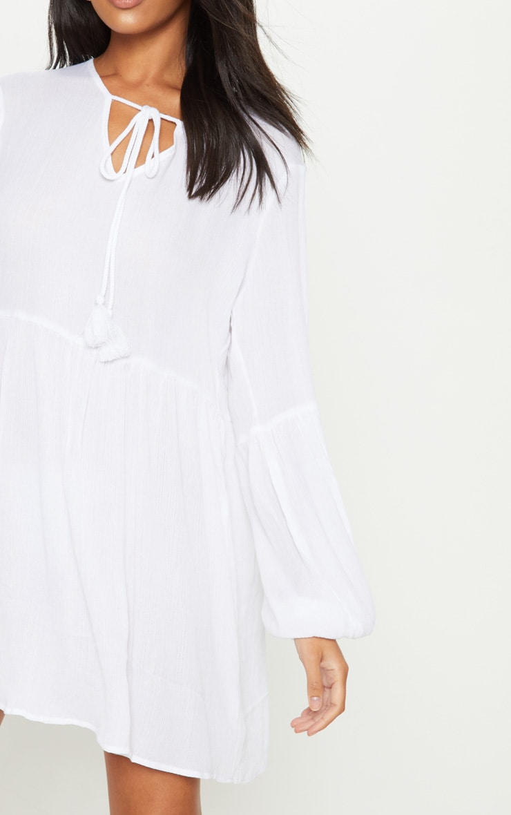 White Puff Sleeve Tie Detail Smock Dress 5