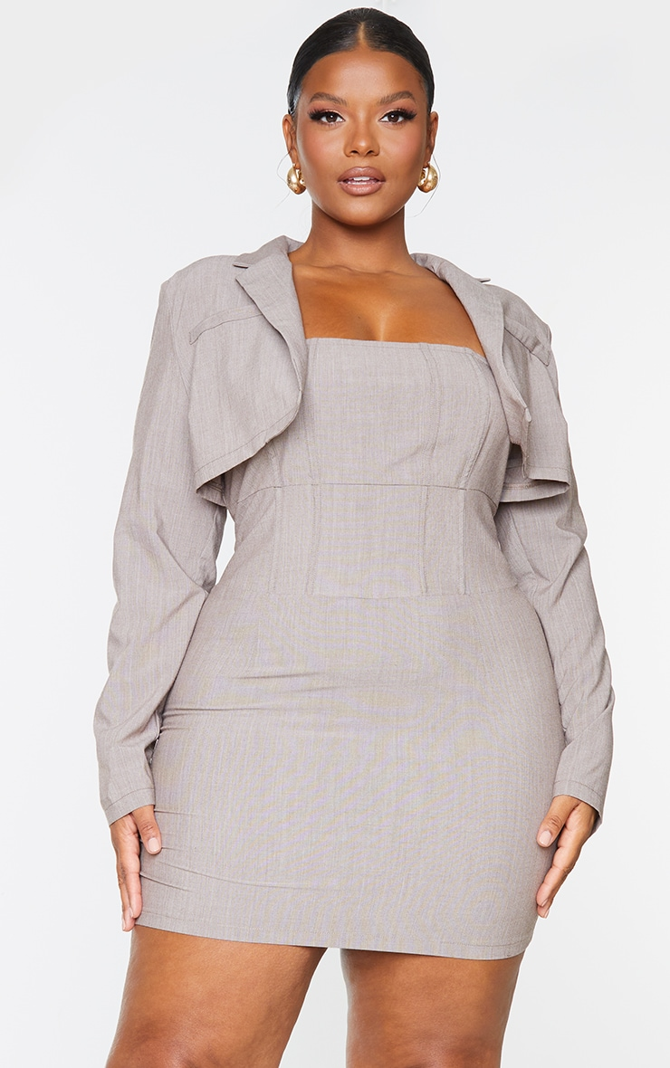 Plus Taupe Corset Style Blazer Dress 3