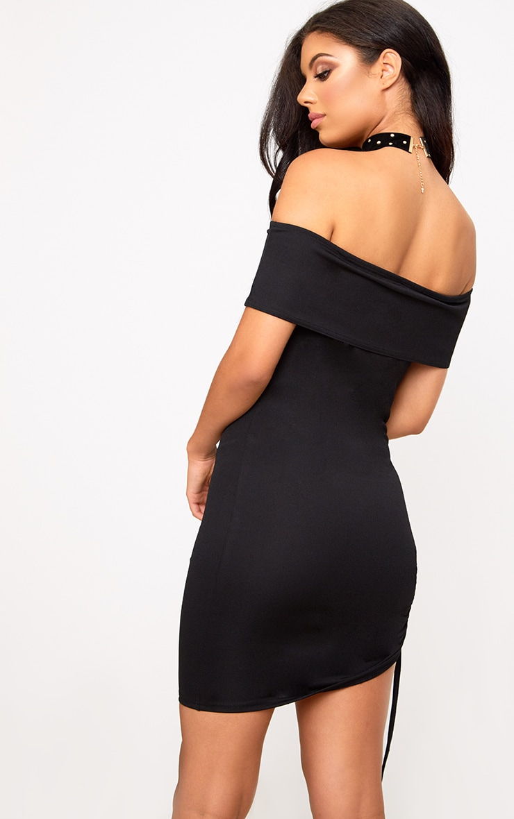 Black Bardot Ruched Side Bodycon Dress 2