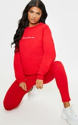 PRETTYLITTLETHING Red Embroidered Oversized Sweatshirt 4