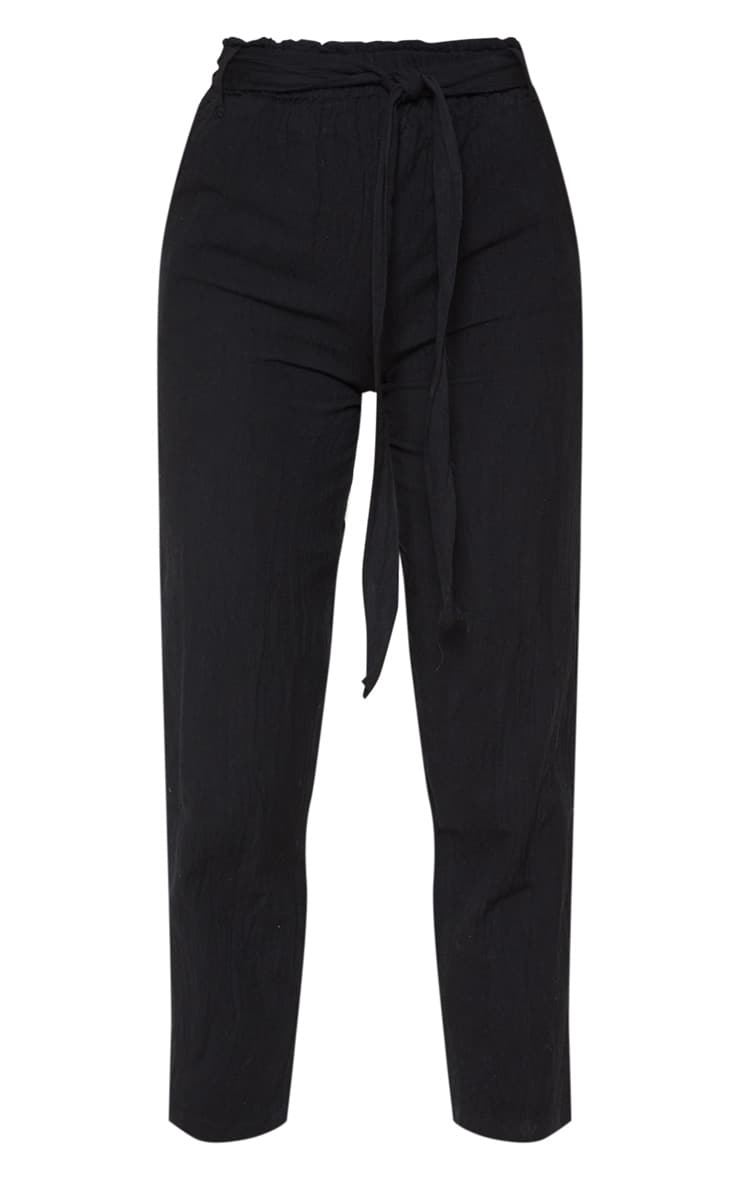 Black Paperbag Linen Feel Tie Waist Detail Pants 3