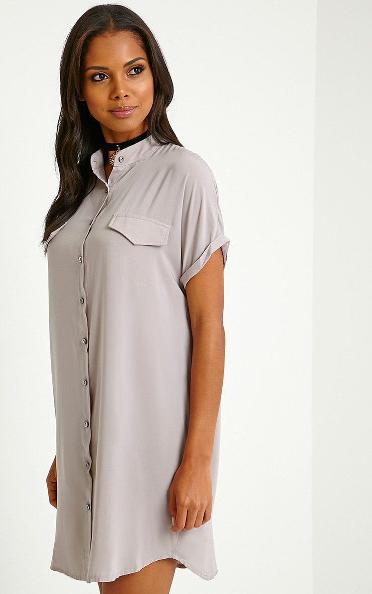 Valeria Grey Cap Sleeve Shirt Dress 4