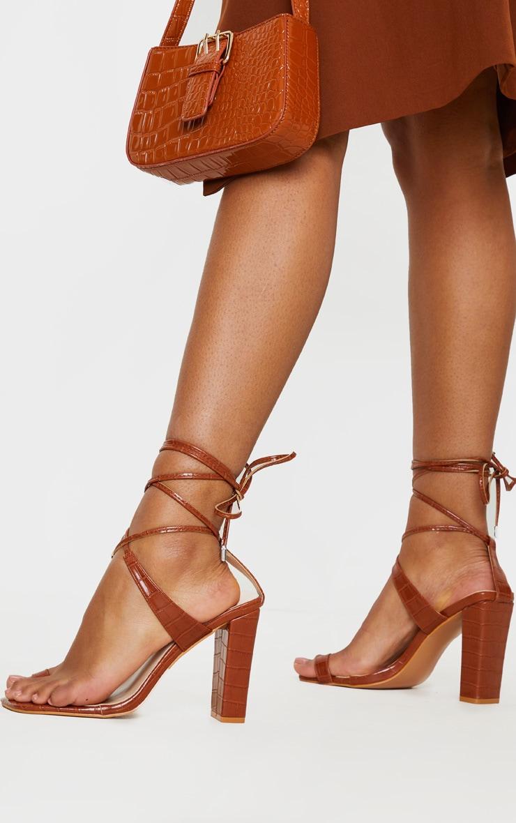 Brown Croc Toe Loop Block Heel Ankle Tie Heeled Sandal 1