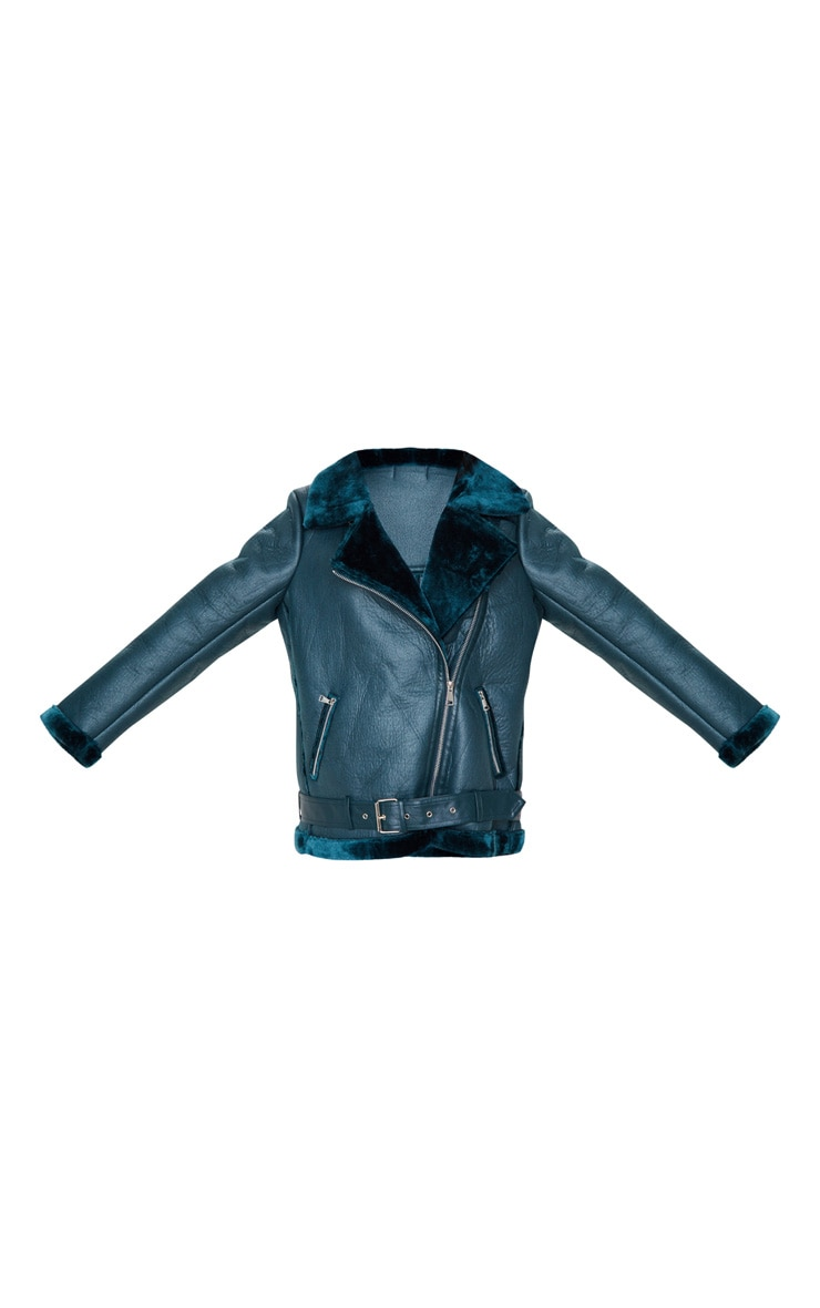 Emerald Green PU Aviator Jacket 3