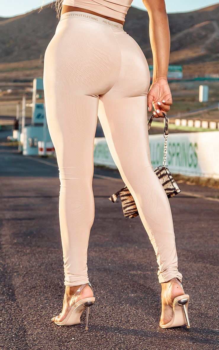 PRETTYLITTLETHING Shape Nude High Waisted Slinky Leggings 3
