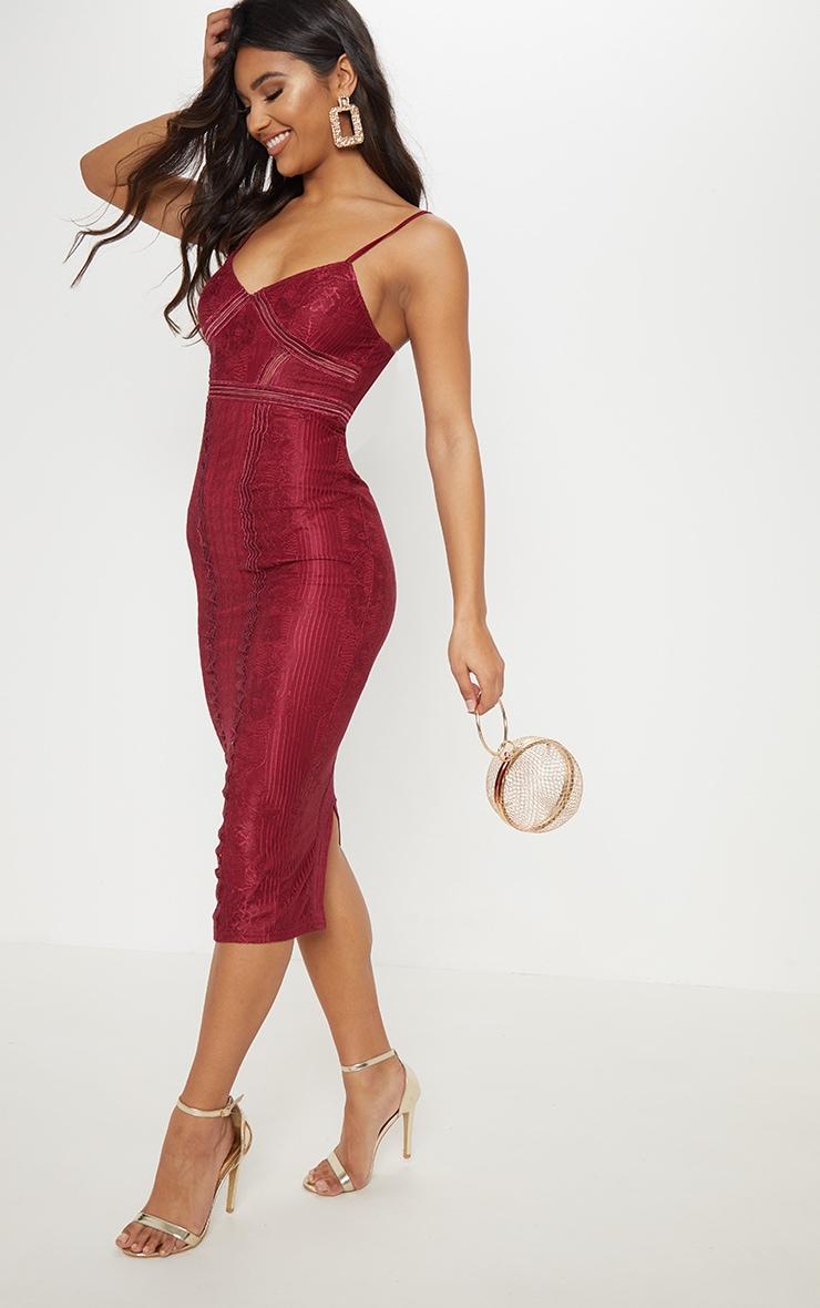 Burgundy Lace Mesh Stripe Insert Midi Dress 1