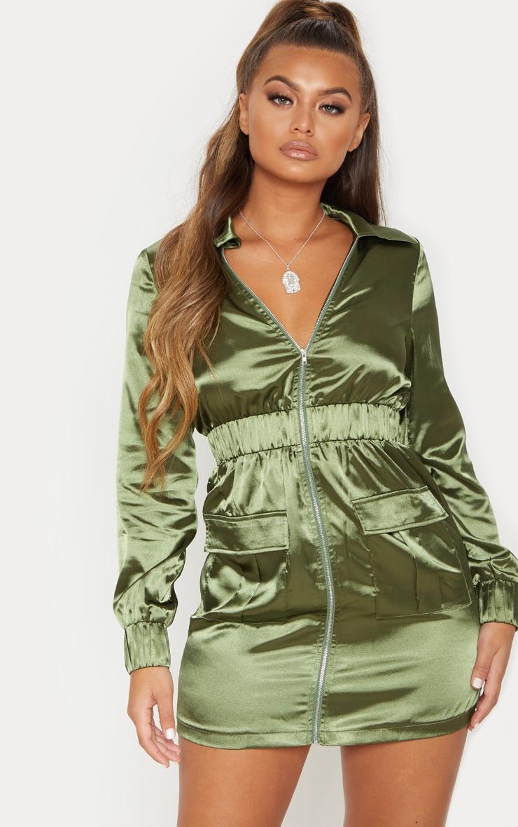 Khaki Satin Zip Front Pocket Detailing Shift Dress 2