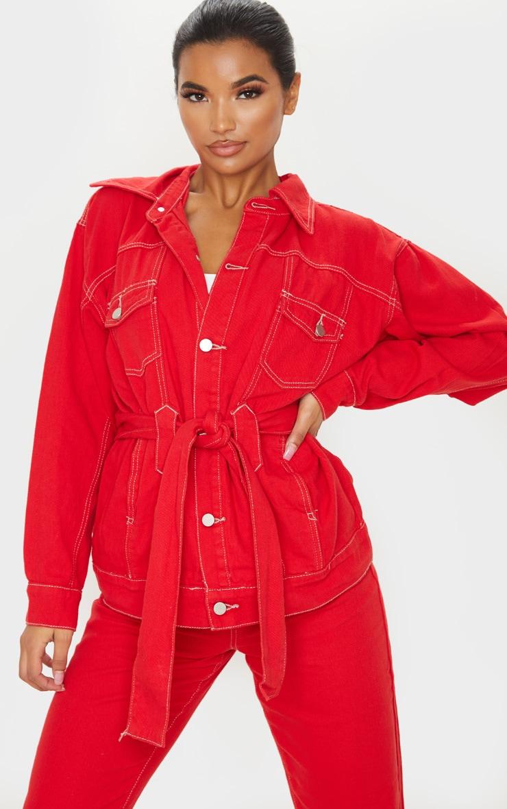 Red Tie Waist Oversized Denim Jacket 1