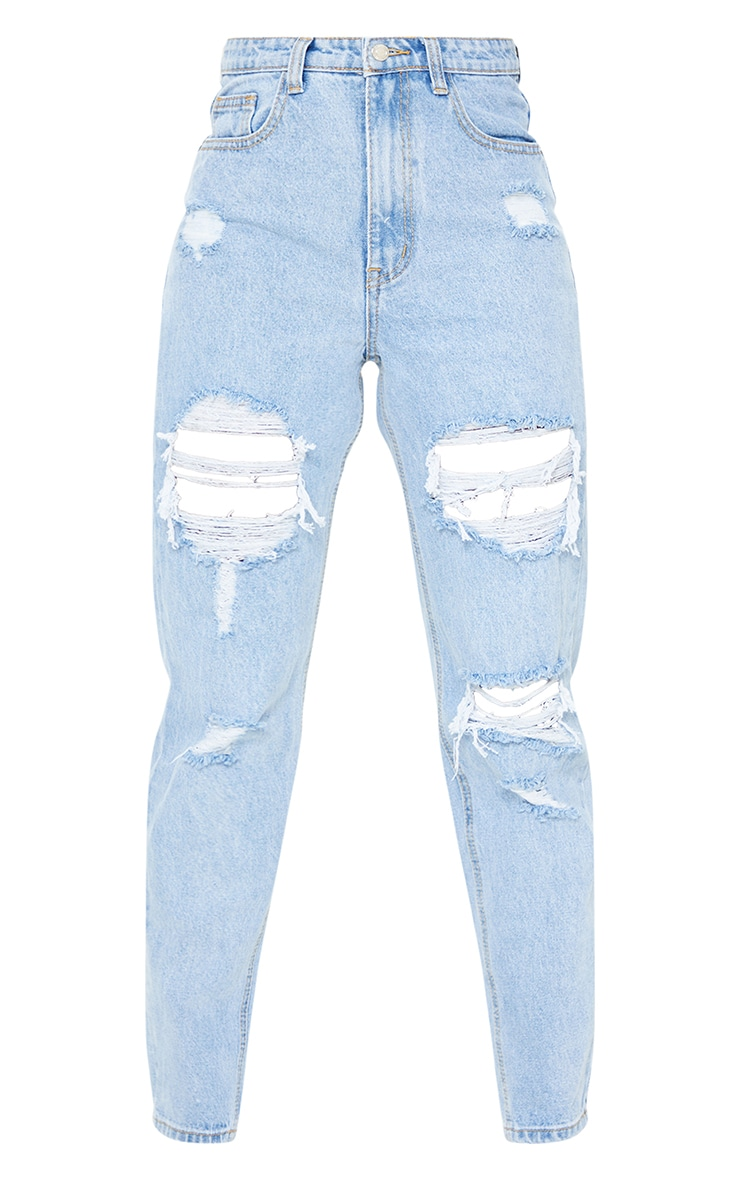 PRETTYLITTLETHING Tall Light Blue Distressed Mom Jeans 5