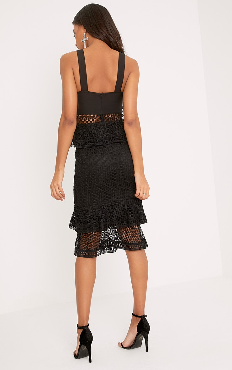 Rhea Black Lace Up Frill Detail Midi Dress 2