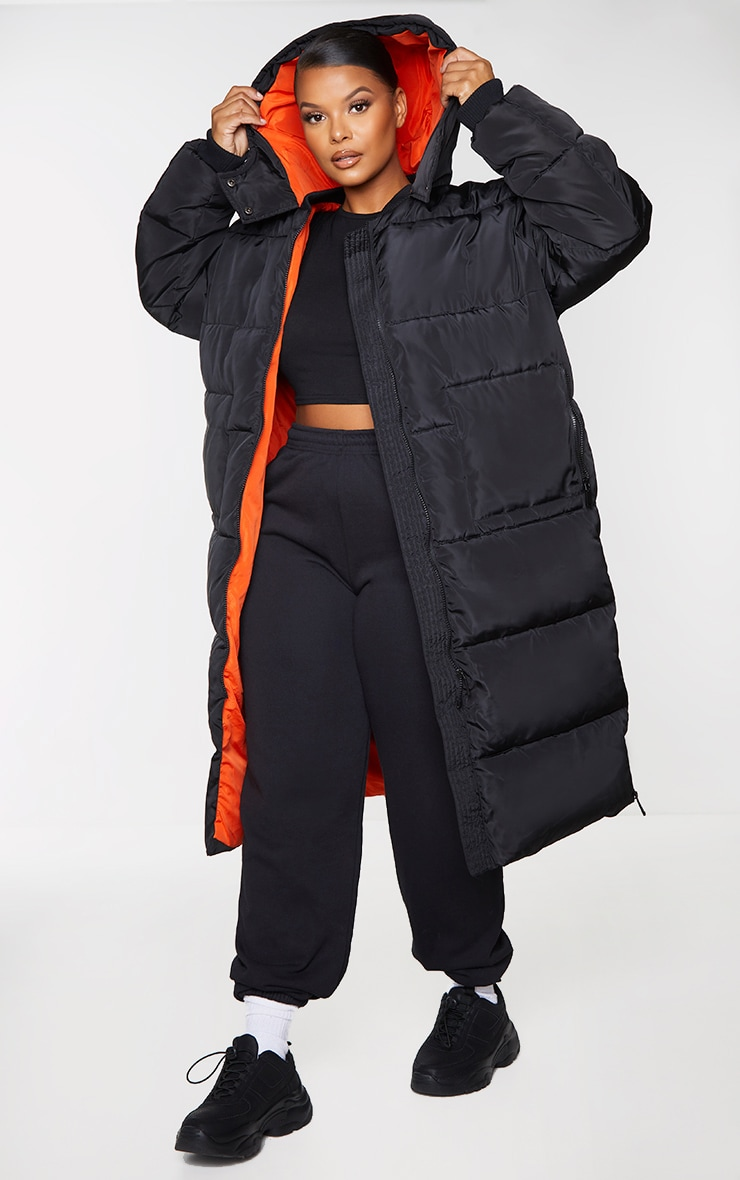 Plus Black Maxi Contrast Hooded Puffer Jacket 3
