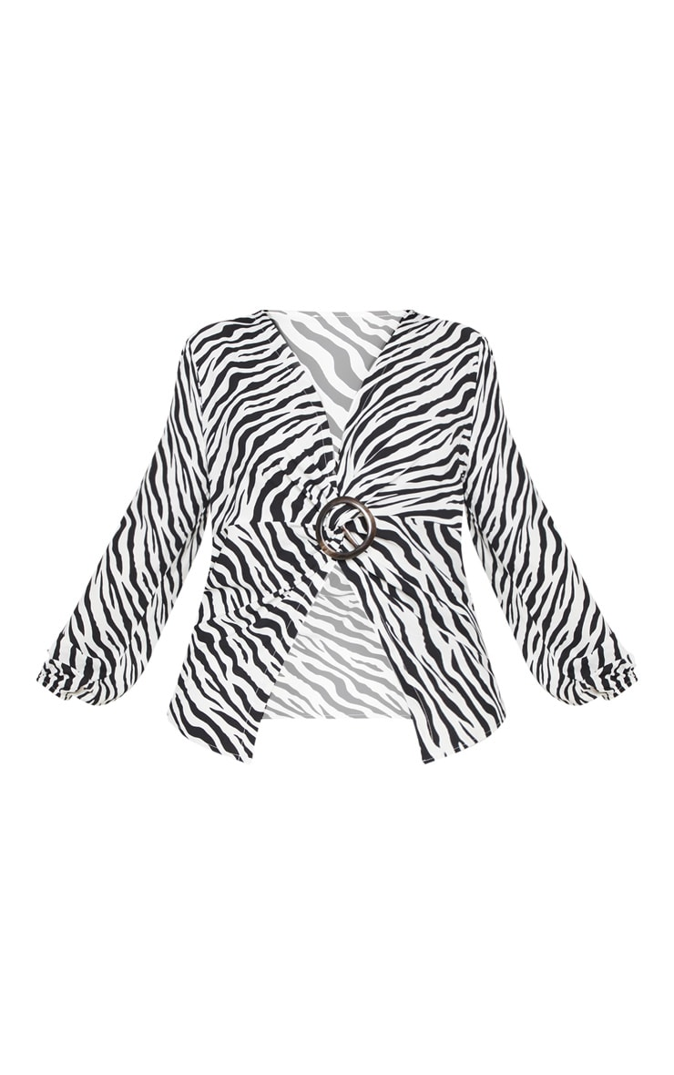 Plus Monochrome Zebra Print Ring Detail Twist Blouse  3