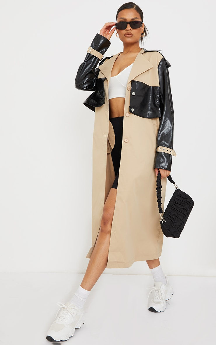 Stone PU Contrast Double Layer Trench 3