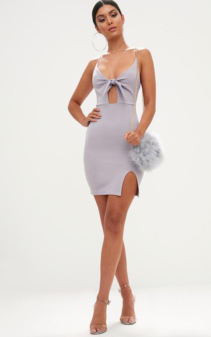 Ice Grey Tie Front Bodycon Dress 4