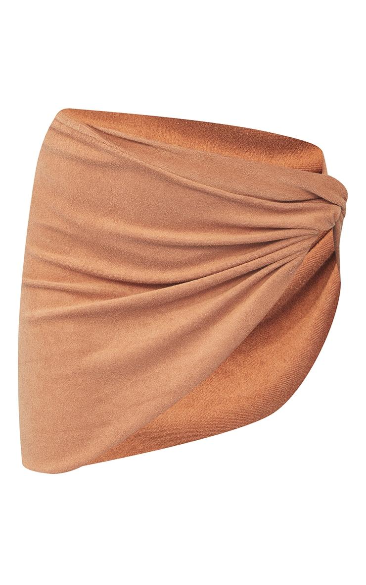 Brown Towel Frill Edge Twist Front Beach Skirt 6