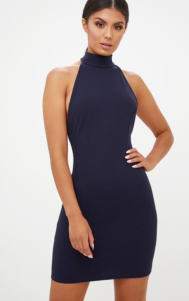 Navy High Neck Low Back Bodycon Dress 2