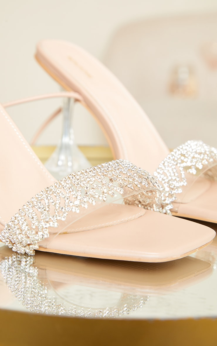 Nude Diamante Trim Lace Up Cake Stand High Heels 4
