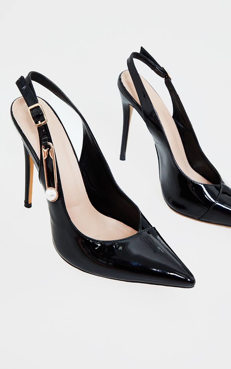 Black Slingback Paperclip Trim Court Shoes 2