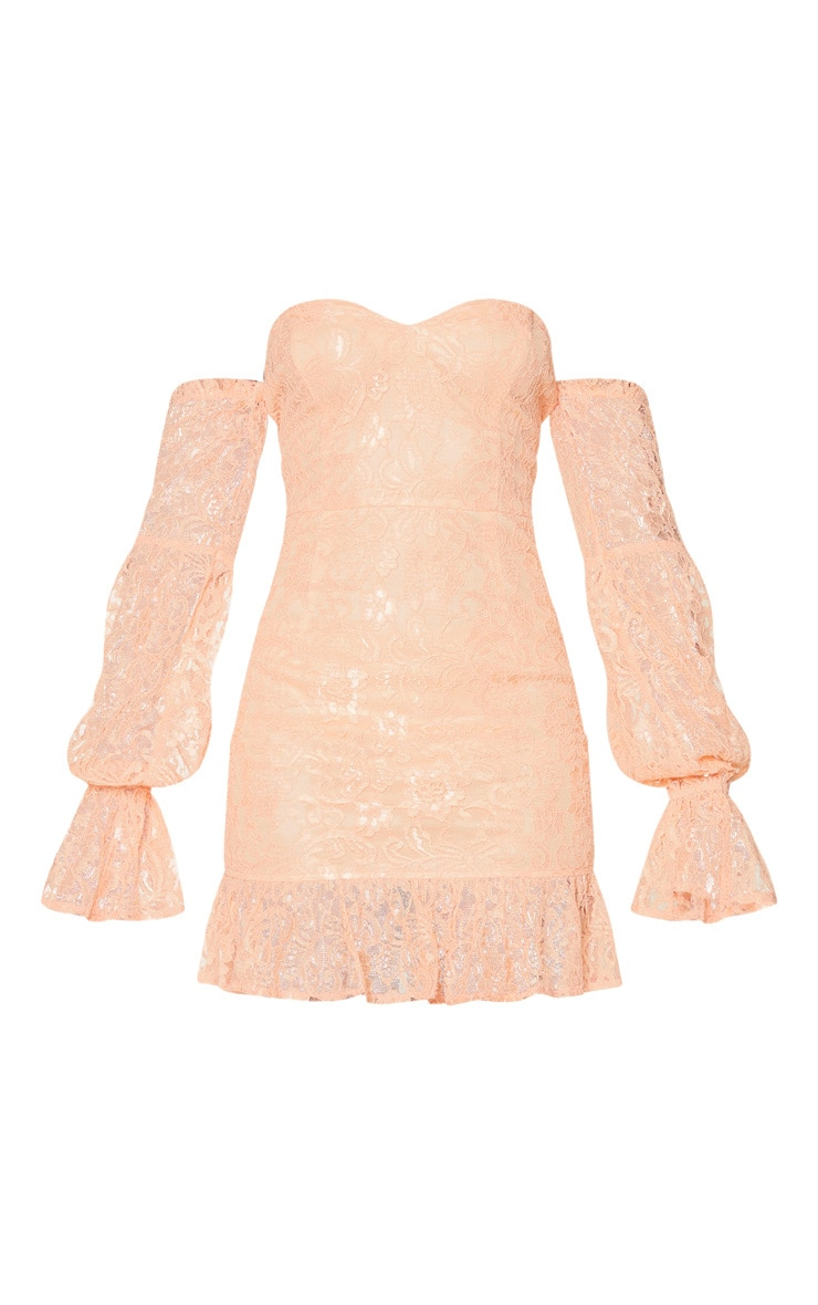Peach Lace Bardot Puff Sleeve Bodycon Dress 5