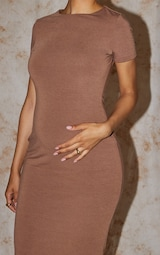 Recycled Maternity Chocolate Contour Jersey Short Sleeve Midi Dress 4