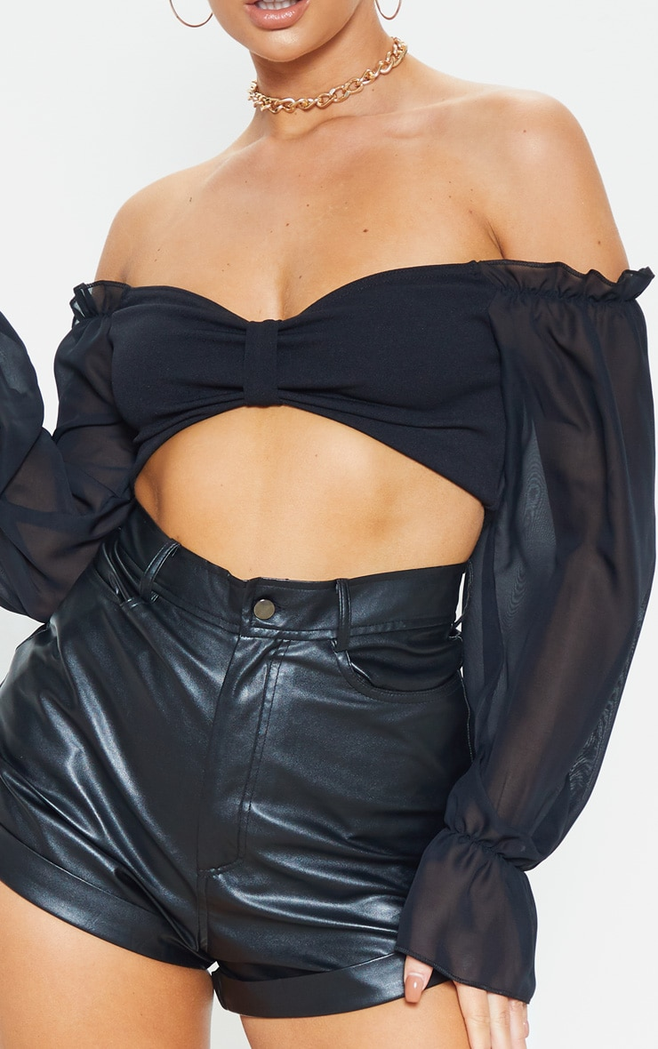 Black Bardot Chiffon Flare Sleeve Crop Top 5
