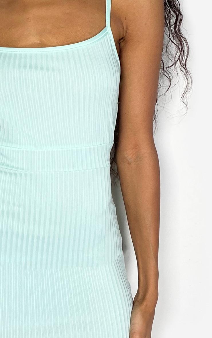 Mint Ribbed Strappy Back Bodycon Dress 4