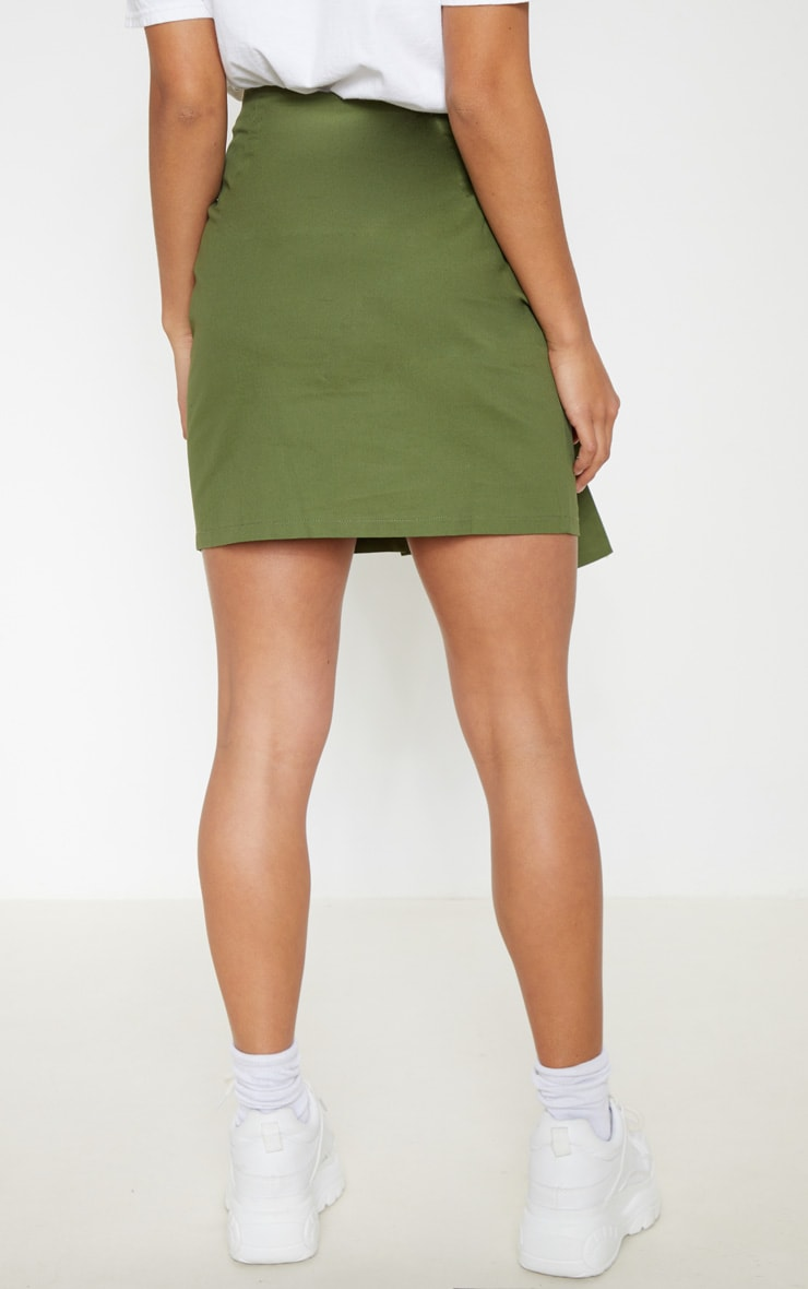 Petite Khaki Button Up Tie Front Skirt 3