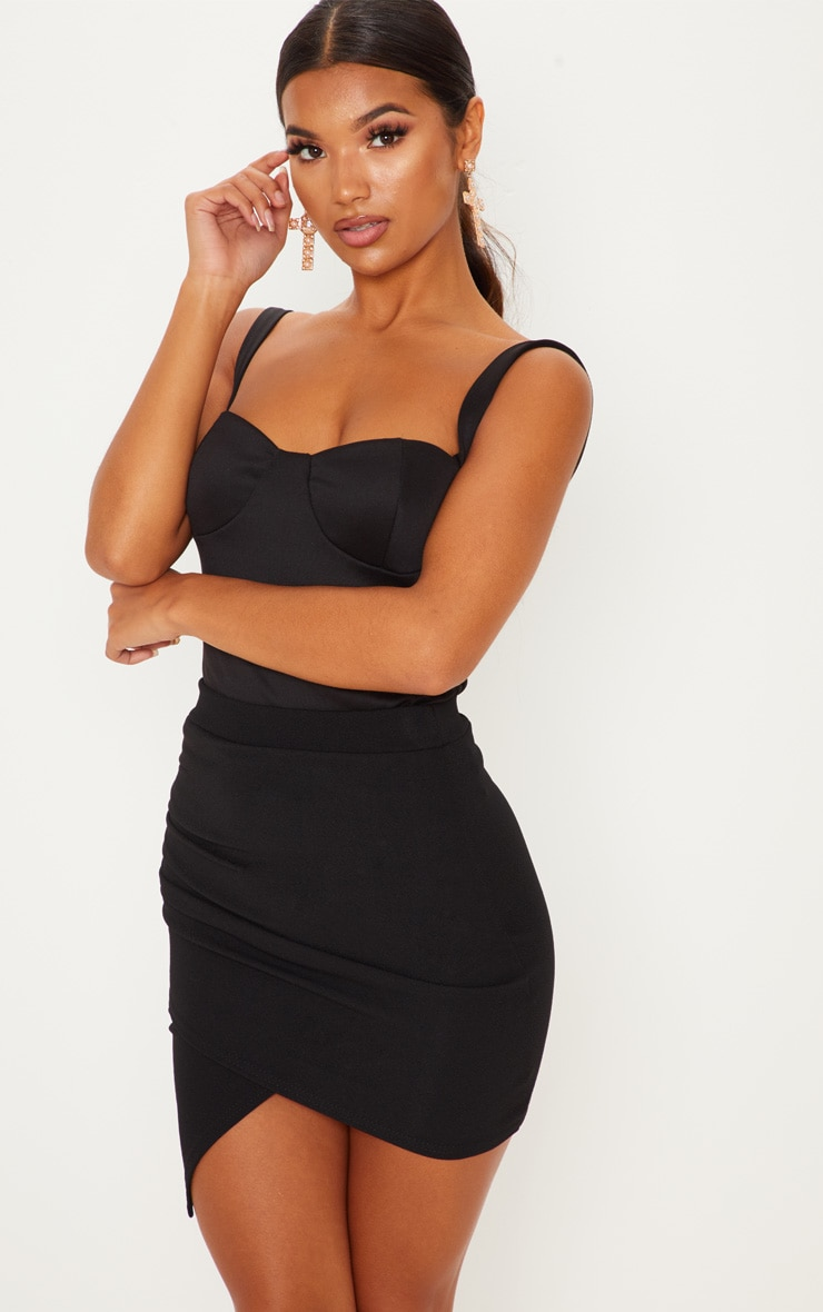 Black Ruched Wrap Mini Skirt 1