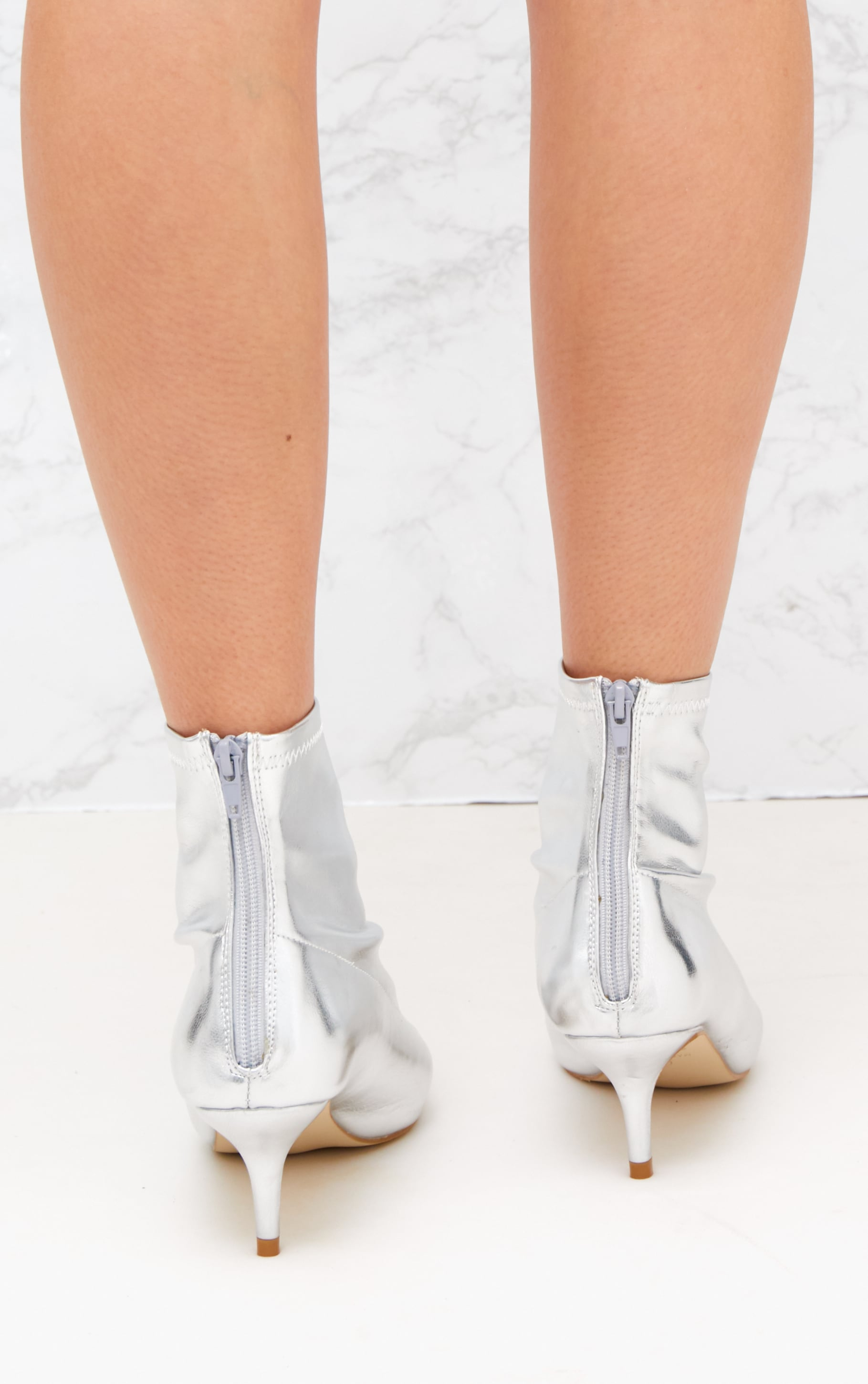 Silver PU Low Heeled Ankle Boots 4