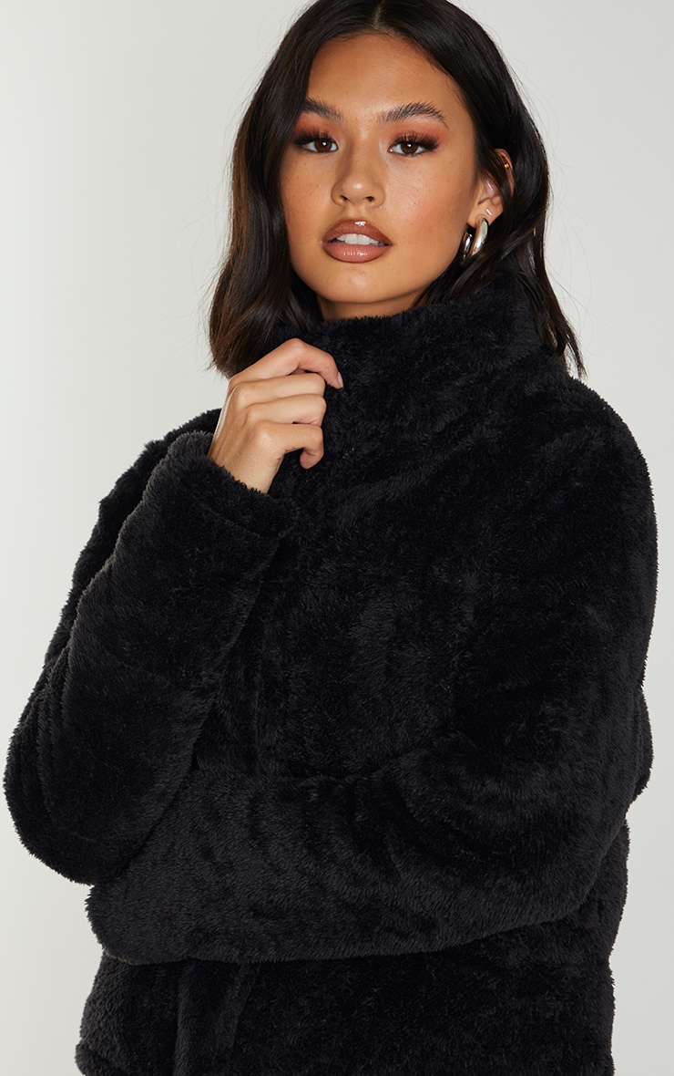 Black Short Faux Fur Padded Puffer Jacket 4