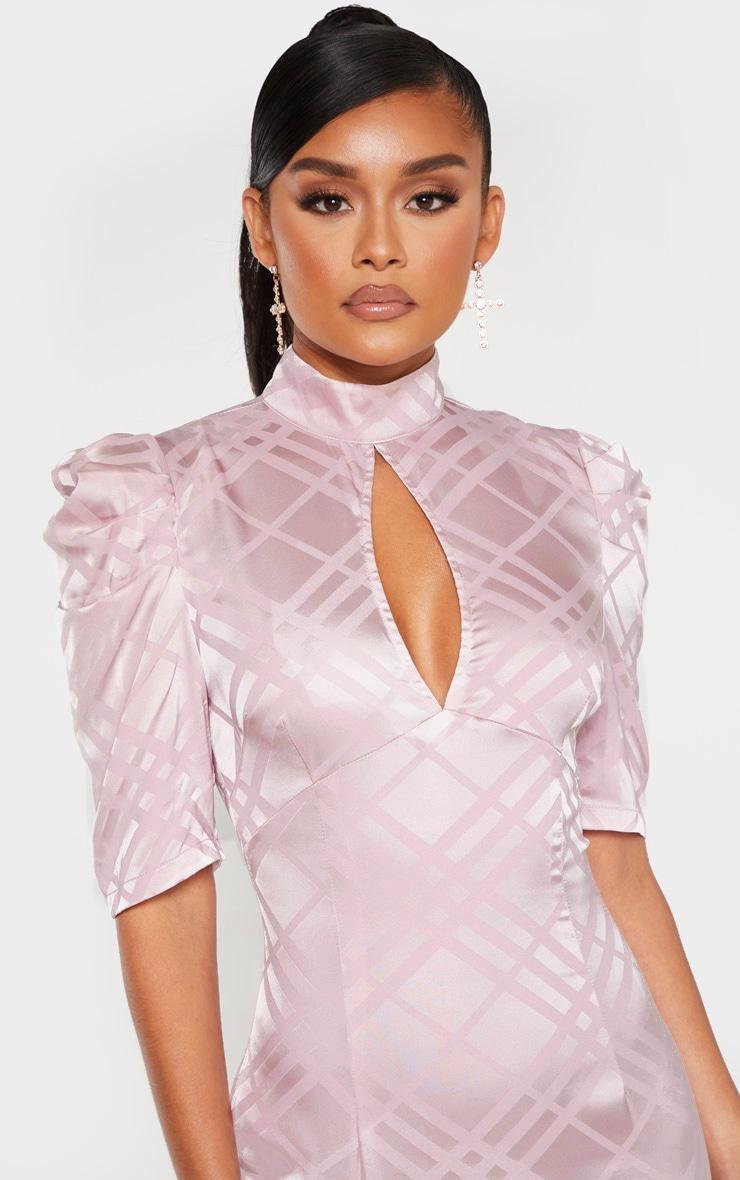 Lilac High Neck Puff Sleeve Keyhole Midi Dress 5