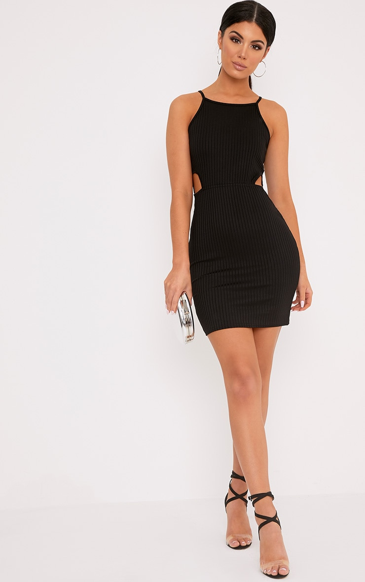 Mireille Black Ribbed Cut Out Bodycon Dress 1