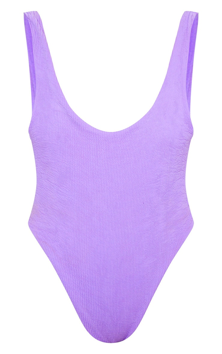 Purple Crinkle High Leg Swimsuit 3