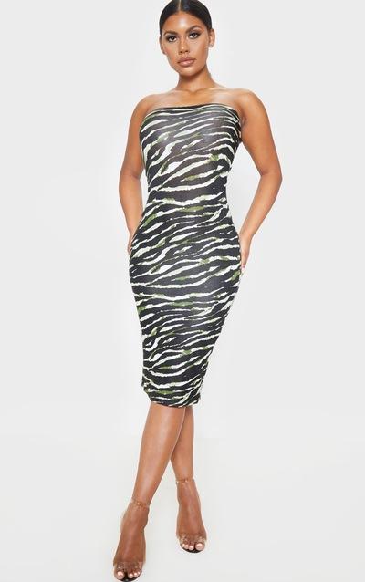 Khaki Tiger Print Bandeau Midi Dress