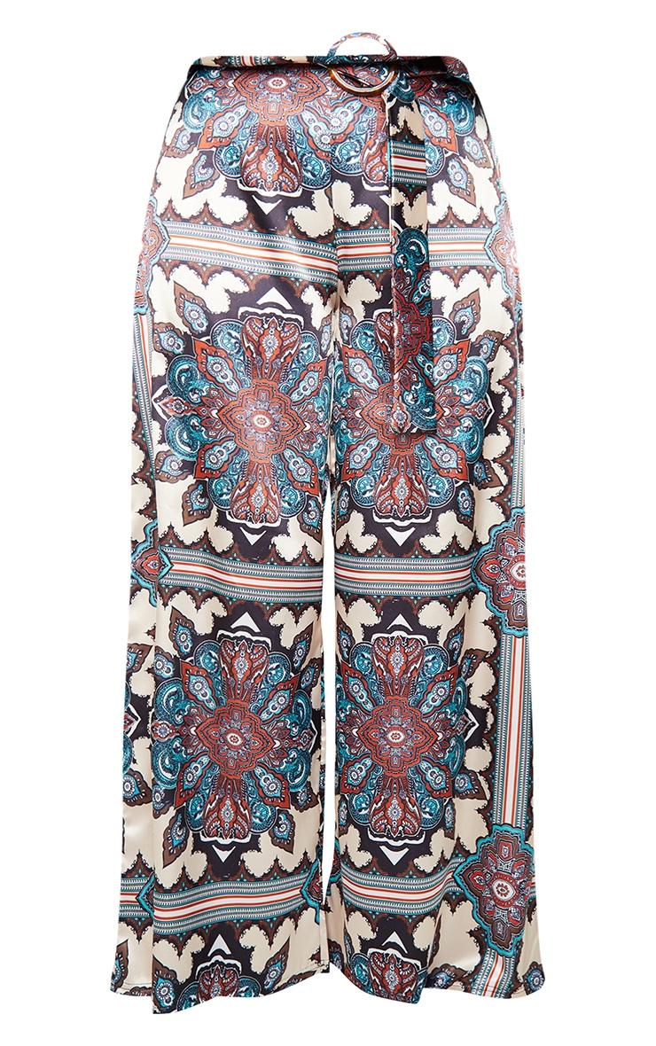 Blue Paisley Print Wide Leg Trousers 5