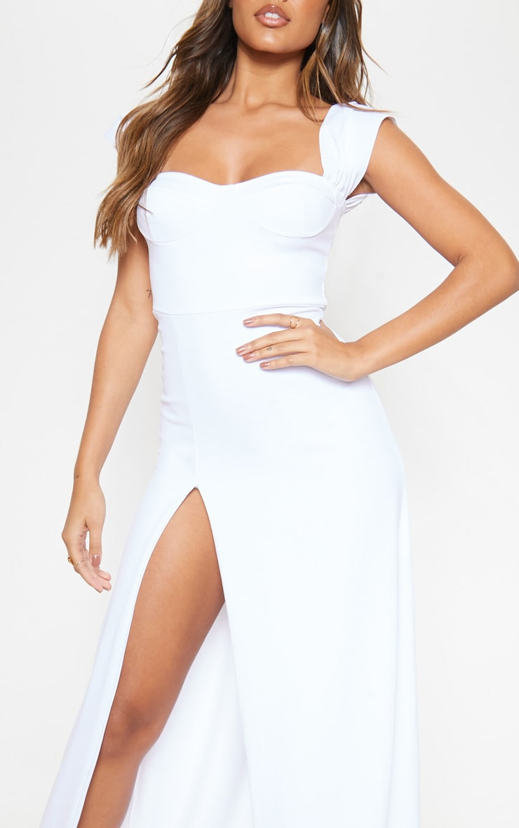 White Cup Detail Maxi Dress 5