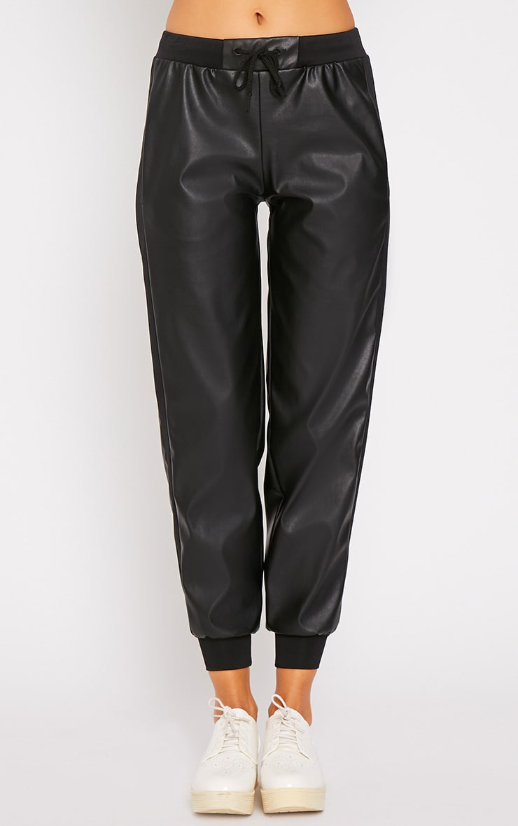 Carmen Black Faux Leather Jogger 3