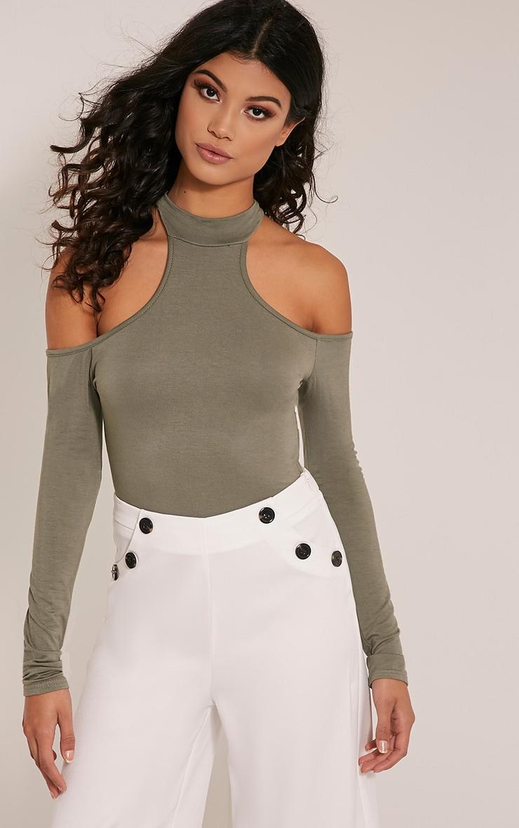 Hazel Khaki Cut Out Shoulder Bodysuit 1