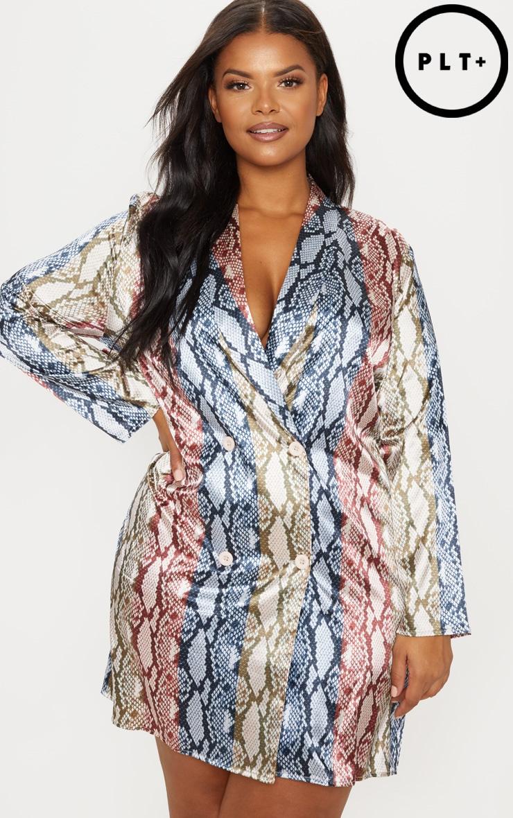 Plus Pink Snake Print Satin Oversized Blazer Dress