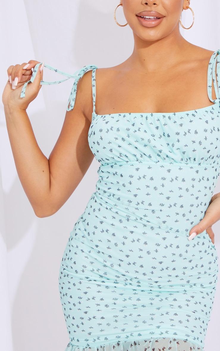 Mint Ditsy Print Tie Strappy Mesh Bodycon Dress 4