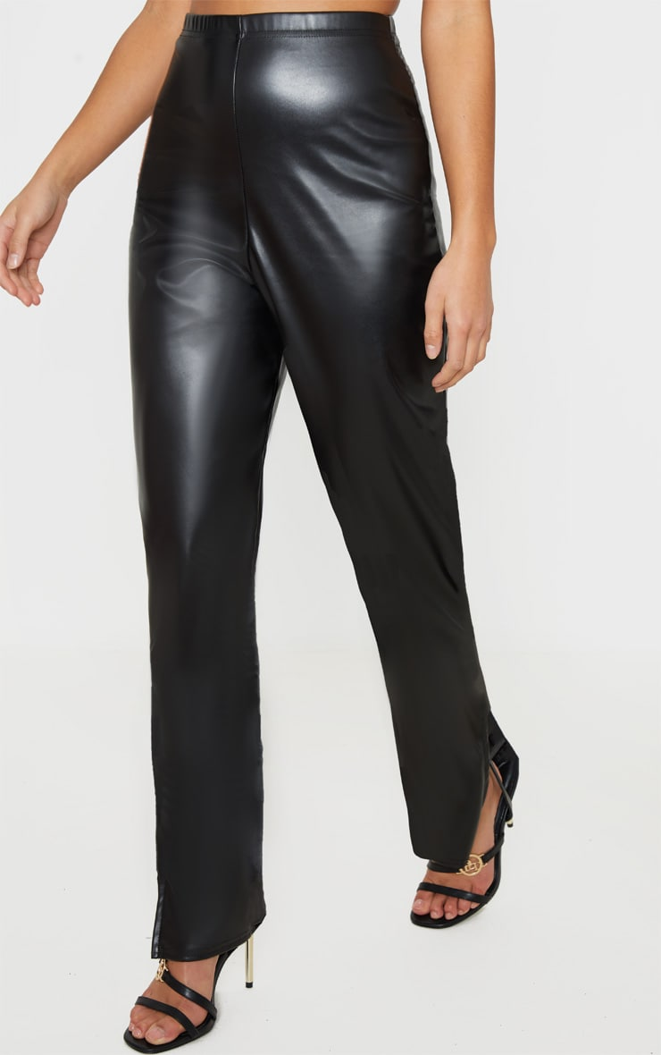 Petite Black Split Hem Flared PU Pants 2