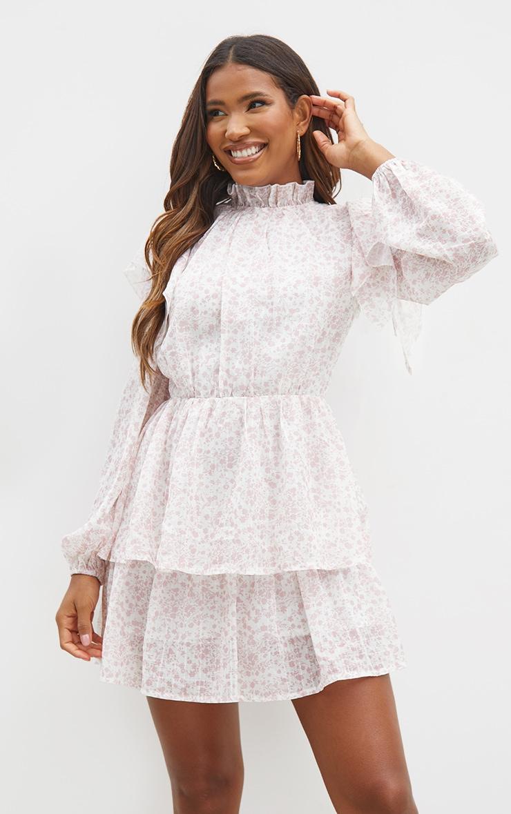 Pink Floral Print Lace Back Tiered Skater Dress