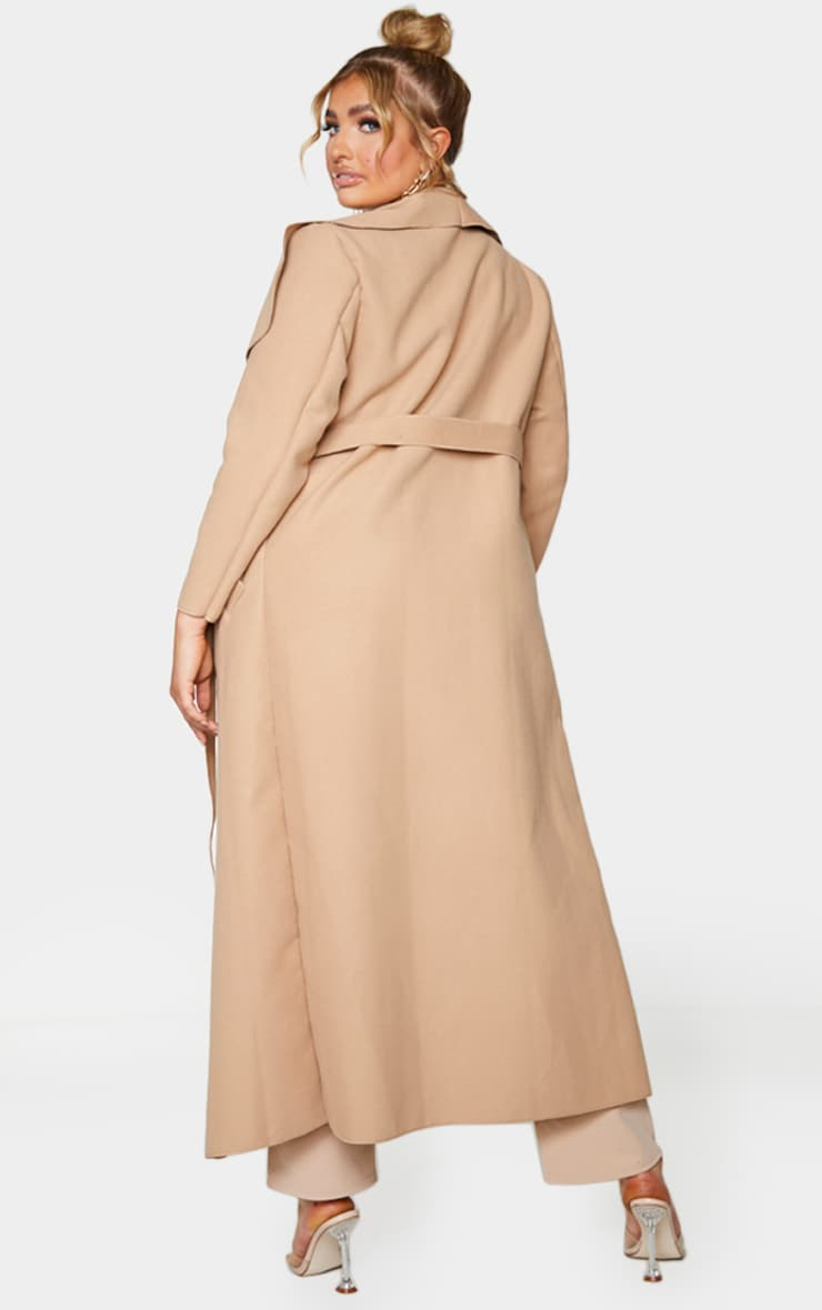 Plus Camel Maxi Oversized Waterfall Belted Coat 2