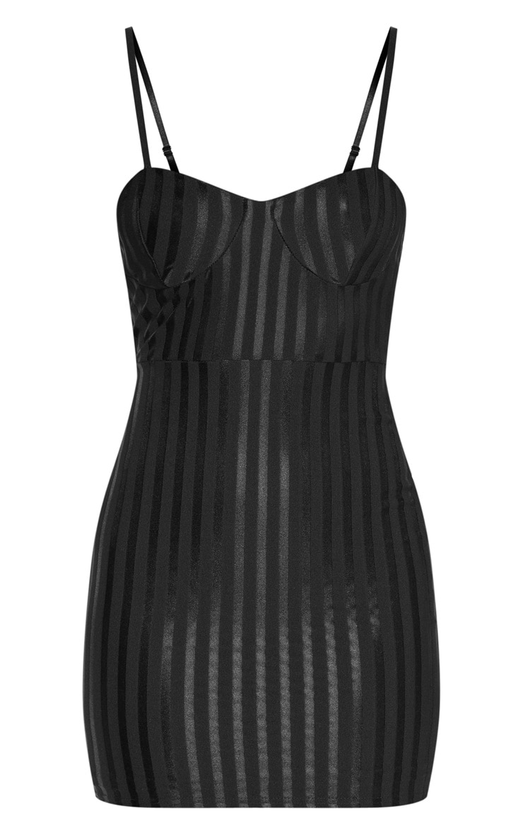 Black Strappy Cup Detail Striped Bodycon Dress 4