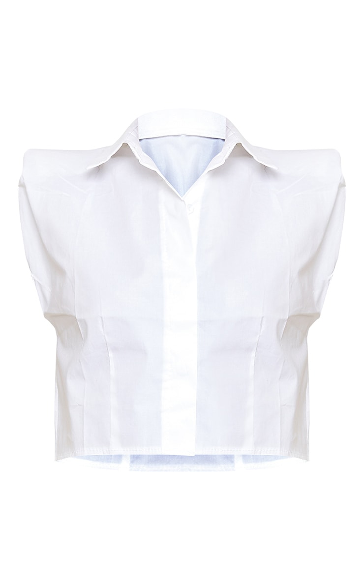 White Woven Shoulder Pad Cropped Sleeveless Shirt 5