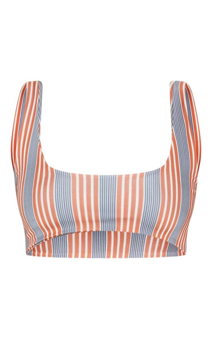Brown Double Stripe Scoop Bikini Top 4