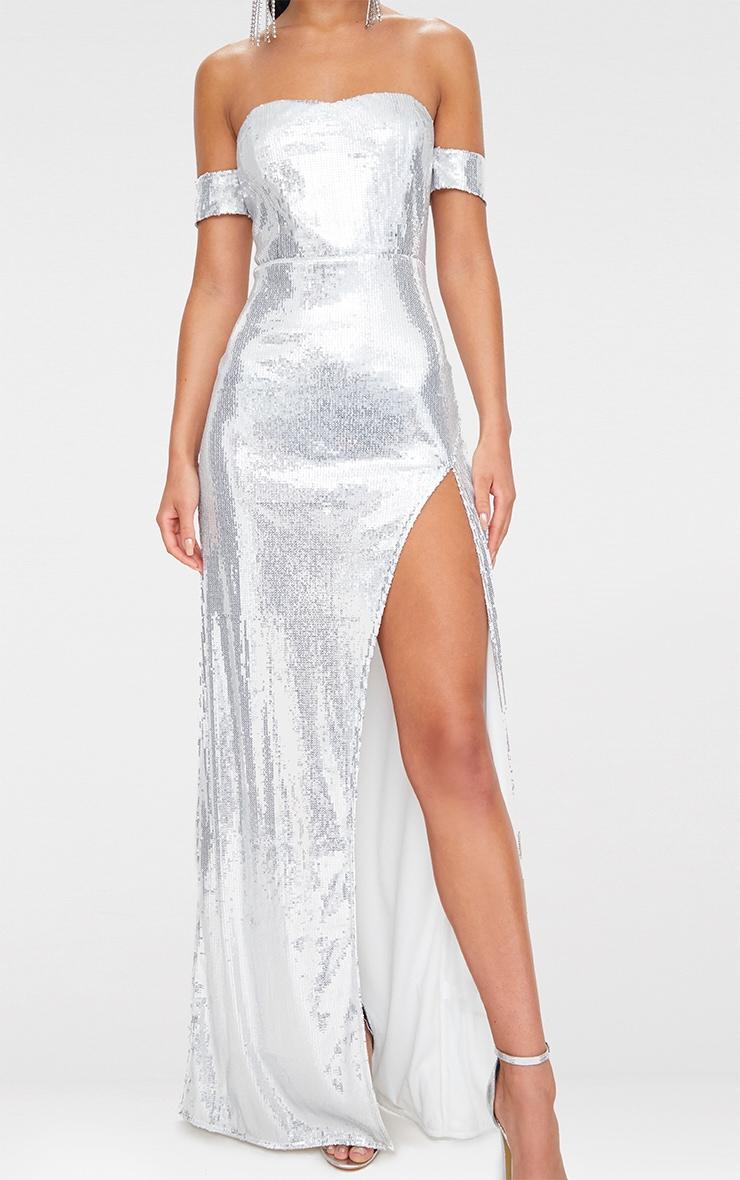 Silver Sequin Bardot Maxi Dress 5