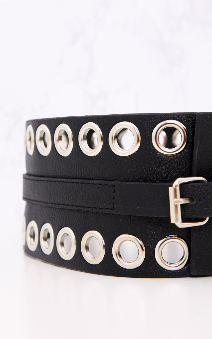 Black Double Eyelet Row Belt 5