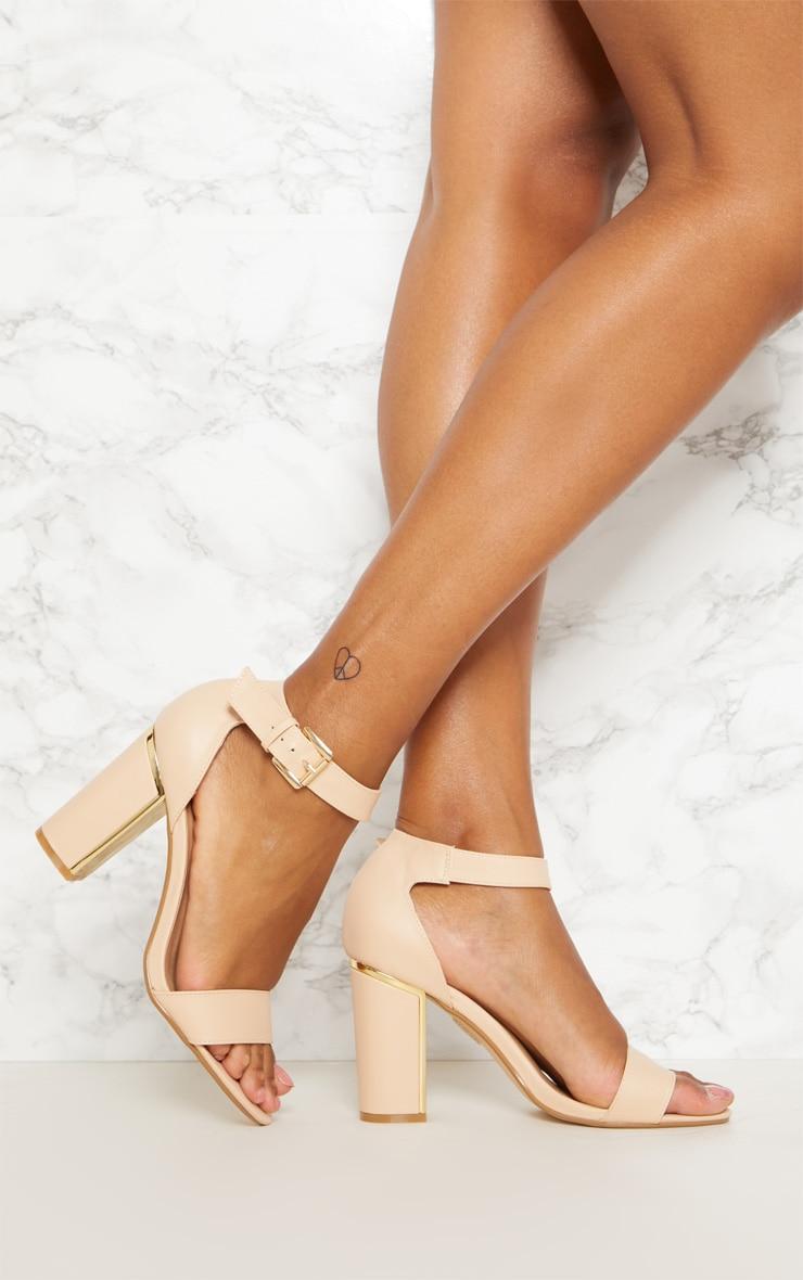 Dusty Pink Gold Detail Block Heel Sandal